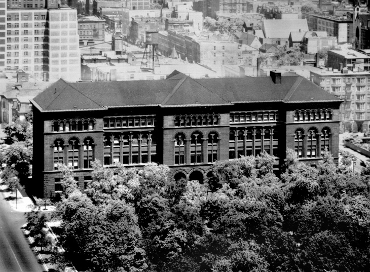 The Newberry Library building in the 1940s