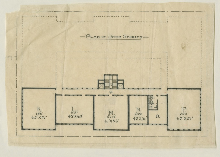 Architect Henry Ives Cobb's sketch of the library's upper floor showed Newberry Librarian William Frederick Poole's influence partly in its series of separate rooms, which may have been intended as departmental reading rooms.