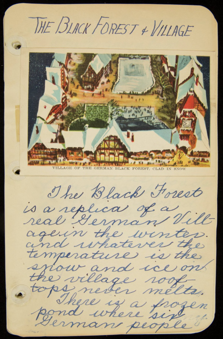 A page from the diary/scrapbook of Claire Lieber Crews.