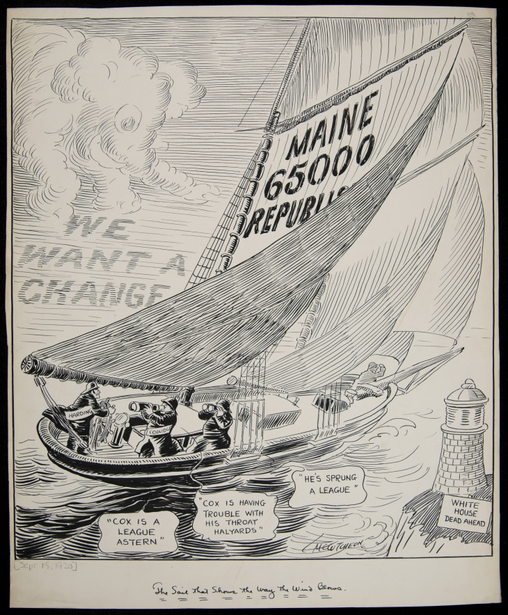 The Chicago Tribune, ran this cartoon by John T. McCutcheon after Maine's early congressional election, on September 13, 1920. The cartoon portrays the Republican victory as an indicator of how the general election would play out.