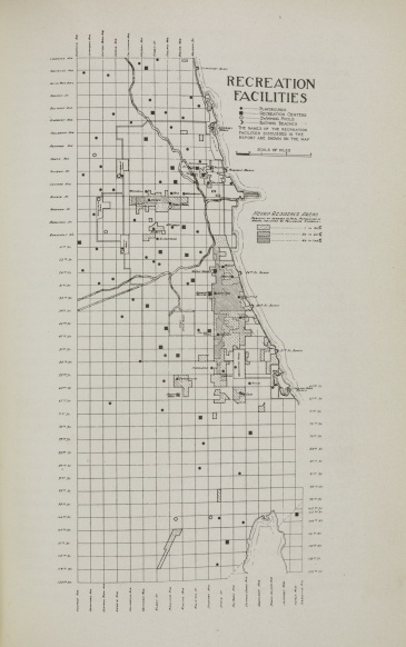Map of segregated recreation facilities in Chicago, 1922