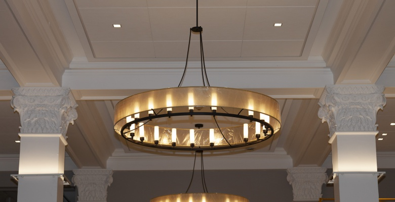 New lighting in the lobby accents key architectural features.