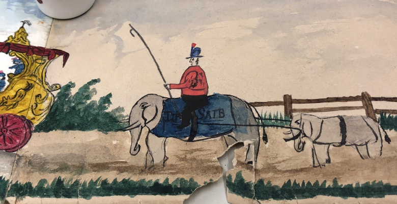 "Detail showing ""Tip Saib,"" otherwise known as ""Tippo Sahib,"" a circus elephant."