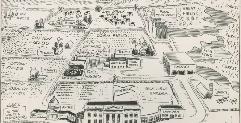 The New Yorker's idea of the United States. Cartoon by John T. McCutcheon, 1922