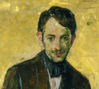 Close up of Portrait of Floyd Dell 1887-1969, B.J.O. Nordfeldt, undated, oil on fabric, Art Collection, Newberry Library. NL003