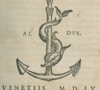 Printer's mark for the Aldine Press, 1555, in Newberry Wing ZP 535 .A36322.