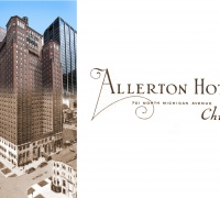 A postcard representation of Chicago's Allerton Hotel fused with a photograph from the present day.