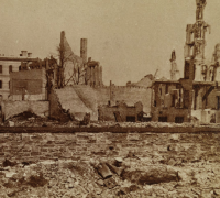 Photograph showing the aftermath of the Great Chicago Fire. From the Oliver Barrett-Carl Sandburg Papers at the Newberry Library.