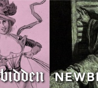 Forbidden Newberry over the image a drawing of a smiling woman and a frightened man.