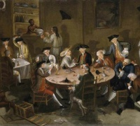 "John Greenwood, Sea Captains Carousing in Surinam, c. 1758, oil on ""bed ticking."" Image: Wikimedia Commons"