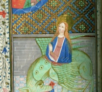 Miniature of Saint Margaret, Book of Hours, Use of Salisbury, 1455. Newberry Case MS 35.