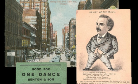 """A postcard showing the view down Madison Street, """"A cute little man of Chi-ca-go"""" limerick, and """"Good for One Dance, Benton & Son"""" dance card."""