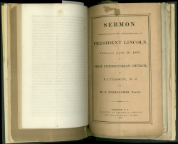 Sermon occasioned by the assassination of President Lincoln, April 16, 1865