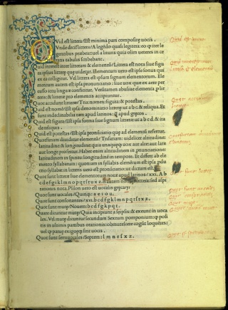 Francesco Venturini, Rudimenta grammatices, Florence, 1482. Newberry Inc. 6141.