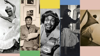 Left to right: Katherine Dunham, Katharine Kuh, Gwendolyn Brooks, Gertrude Abercrombie, and Ruth Page
