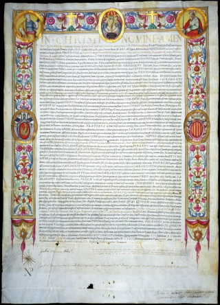 Papal indulgence issued to Marcello and Jo. Baptista Gilio by Cardinal Alessandro Farnese, Scipio Gonzaga, and Fabius Ursinus, 1587. Newberry Case Wing ZC 9 .155.