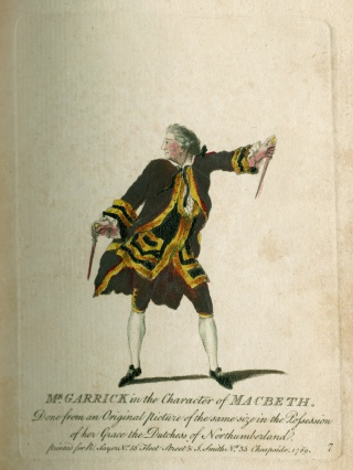Mr. Garrick in the Character of Macbeth, 1770. Newberry Case V 181 .239.