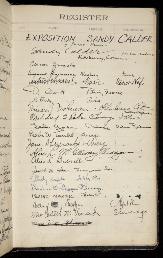 Arts Club of Chicago Guest Book for Alexander Calder Exhibition, 1919