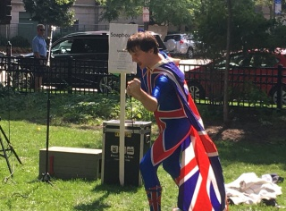 "Soapbox speaker S. Montgomery Priz argues ""The Republic has Failed, and Only the Queen of England Can Save Us"""