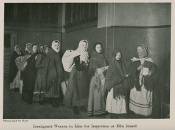 Immigrant Women in Line for Inspection at Ellis Island  J 383 .756