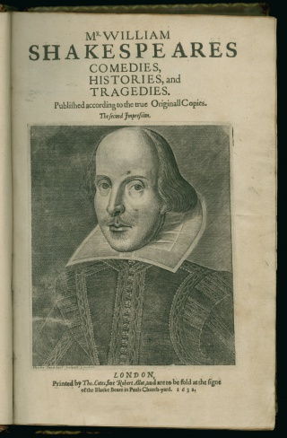 Detail from title page of Mr. William Shakespeares comedies, histories, and tragedies: published according to the true originall copies. First Folio edition, 1623. Newberry Case folio YS 02.