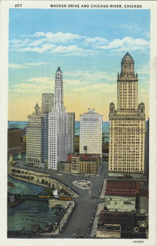 Wacker Drive and the Chicago River postcard, 1928