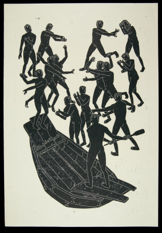 The crossing of the Styx on the bark of Charon, in Scenes from Dante's Inferno, illustrated by Otto Neumann, mid-20th century. Newberry Wing ZP 947 .N48.