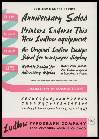 Advertisement for Ludlow Typograph Co.'s Hauser script