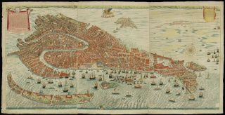 Giovanni Merlo, active 1656–1696. True and Accurate Map of the Inclined City of Venice.  (Vero e real disegno della inclita città di Venezia.) Engraved map with hand coloring, printed in Venice, Italy, by Stefano Scolari in 1676.