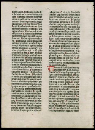 [A Leaf from the Gutenberg Bible (Ezekiel 37:11 to 39:7.).] First complete book printed with metal type on a book press, Mainz, Germany, around 1454.