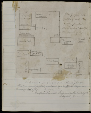 Floorplan of the U.S. Quartermaster General's Office, where Garaphelia Howard worked during the Civil War. The plan comes from a scrapbook that was kept by one of Howard's co-workers.