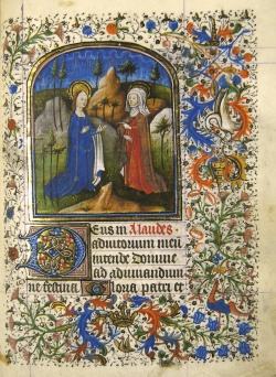 Visitation, from the Heures de Nostre Dame selonc lusaige de Rome.