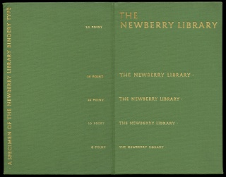 In the 1930s, the Newberry designed its own typeface to make it easier for librarians to identify book titles in dimly lit rows of shelving. Once complete, the pieces of type could be used by typesetters in the Newberry Bindery to title new book bindings.