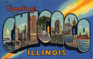 Greetings from Chicago, Illinois postcard, 1942.