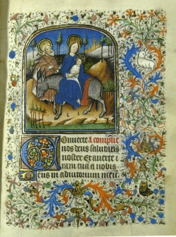 Flight into Egypt, from Heures de Nostre Dame selonc lusaige de Rome
