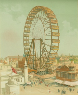 Ferris wheel illustration from The Book of the Fair: An Historical and Descriptive Presentation of the World's Science, Art, and Industry, as Viewed through the Columbian Exposition at Chicago in 1893. Case oversize R 1832 .07