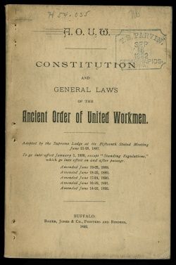 Constitution and general laws of the ancient order of United Workmen. H 54 .035