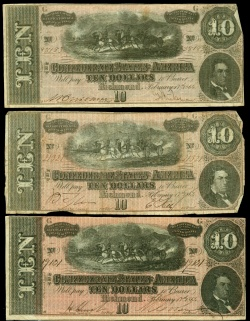 Confederate currency from the collection of former Chicago mayor Carter H. Harrison. Midwest MS Harrison, box 22, folder 1130.