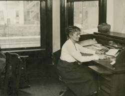 Harriet Monroe in the Cass Street office of Poetry magazine, Harry Hansen Papers
