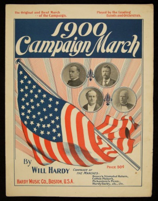 Front cover of song and march written about the 1900 presidential election.