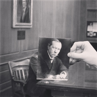 A Book Face Friday Instagram post featuring the postcard likeness of Arthur Conan Doyle.