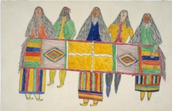 Frederick Gokliz. Ink and Watercolor Drawings of Apache Indians.