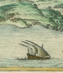 Detail of ship, view of Lisbon. Civitates orbis terrarum.