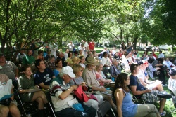 Members of the audience watch the main debate during the Bughouse Square Debates