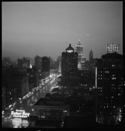 """""""Chicago: Night View of Michigan Ave."""" From the digital collection Daily Life along the CB&Q. Granger 2713."""