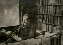 William Frederick Poole at his desk.