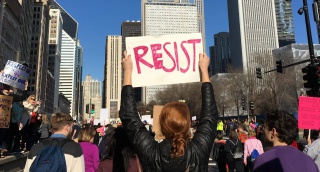 Photo from the Women's March in Chicago, 2017. Part of the Newberry's Chicago Protest Collection.