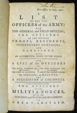 A list of all the officers of the Army...1781. Major General Alexander Leslie's