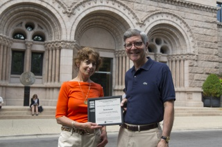 Wendy Kaminer and David Spadafora, President of the Newberry. Kaminer received the 2015 John Peter Altgeld Freedom of Speech Award.